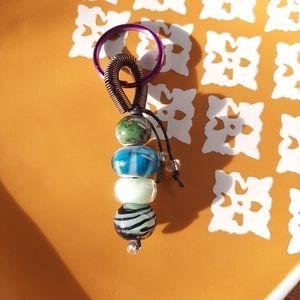 Multicolored Glass Bead Key Chain